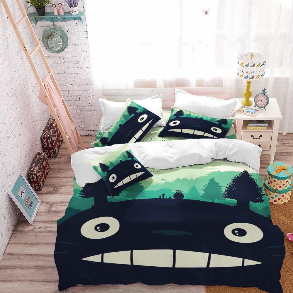 Cuet Totoro Bedding Set Kids Cartoon Duvet Cover Set Colorful Plant Print Bed Cover Festival Gift Pillowcase Home Decor D40 1