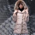 2016 Mujeres de Moda de Invierno Abajo Mapache Cuello de piel de Abrigos de Manga Larga Con Capucha Femenina Prendas de Vestir Exteriores Delgada Chaqueta de la Capa Caliente Mujer
