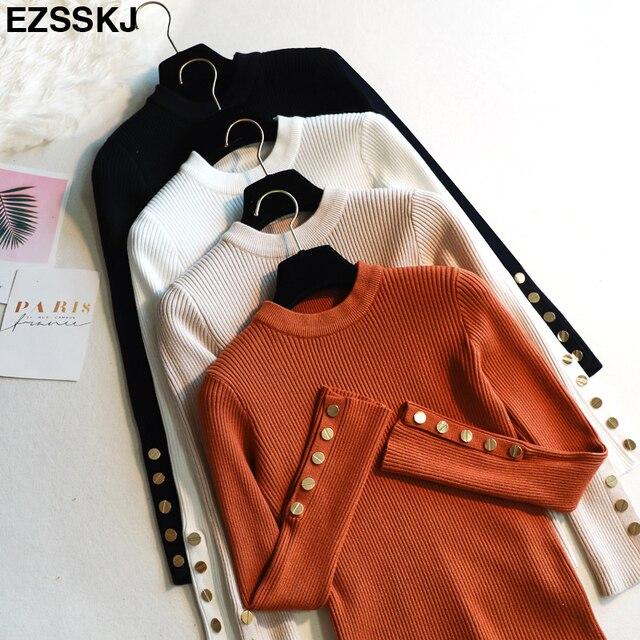 Giản dị Mùa Thu mùa đông Phụ Nữ dày Áo Len Chui Đầu dài tay áo nút o-cổ chic Áo Len Nữ Mỏng knit top mềm jumper