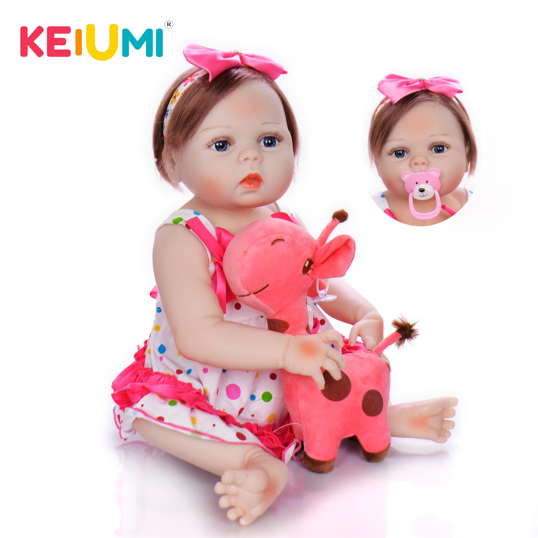 Oyuncaklar ve Hobi Ürünleri'ten Bebekler'de KEIUMI Tam Silikon Vinil Reborn Menina Boneca Fiber Saç 57 cm Gerçekçi Reborn Bebek Bebekler 23 ''Moda çocuklar Doğum Günü NOEL Hediyesi'da  Grup 1