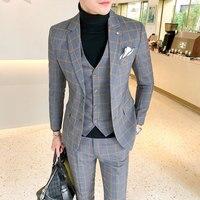 3 pieces plaid men suit (jacket+vest+pant) dress slim fit suit sets british casual checkered suits for wedding sale
