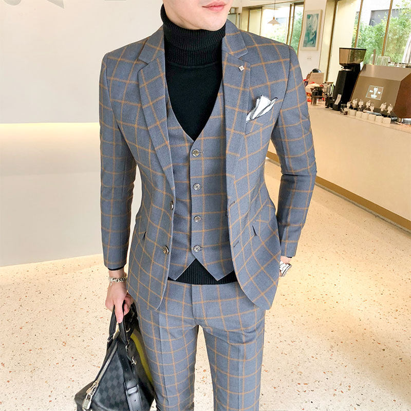 3 Pieces Plaid Men Suit (jacket+vest+pant) Dress Slim Fit Suit Sets British Casual Checkered Suits For Wedding Sale