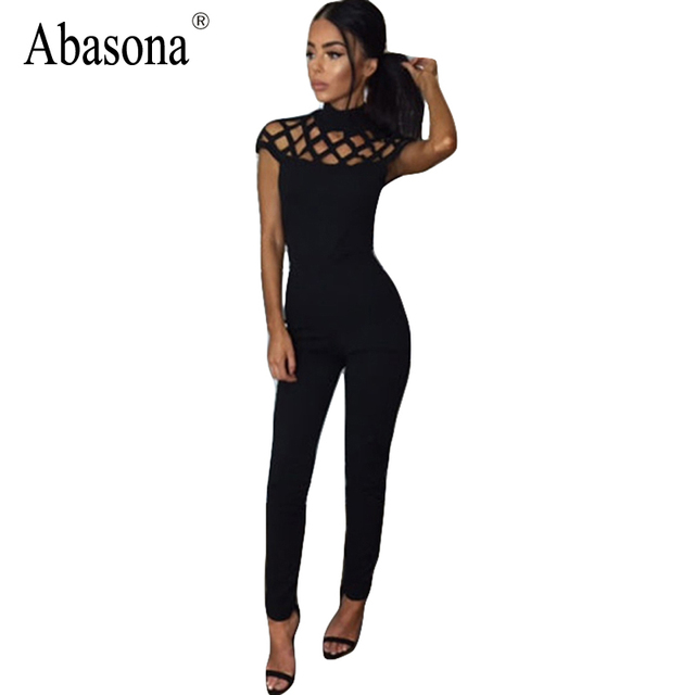 Rompers Womens Jumpsuits 2017 Autumn Winter Long Pants Hollow Out Mesh Womens Turtleneck Spandex Black Sexy Bodycon Jumpsuit