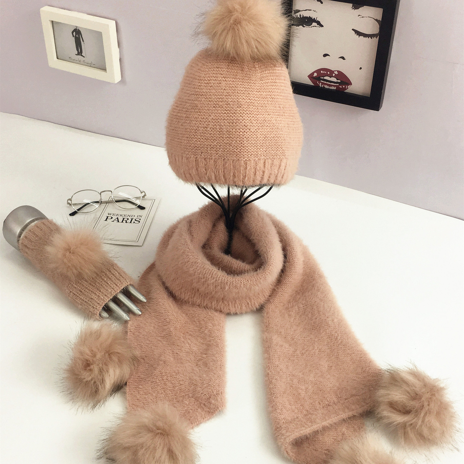 Luxury Brand Women Winter Hat Scarf Gloves Sets Female Warm Wool Ball Knitting Scarves Caps Three Pieces Ladies Christmas Gifts