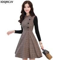 Autumn Winter Dress Women 2018 New Fashion Plaid Woolen Dress Stitching Slim Large size Long sleeves Women Office Dress K825