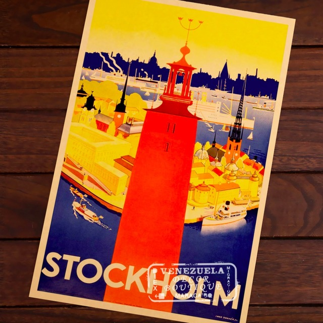 Red Tower of Sweden Stockholm Elements Travel Vintage Retro Kraft Decorative Poster DIY Wall Stickers Posters Home Decor Gift