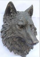 China Art Decor Bronze Pure Copper Figurine Dog Wolf Head Mask Statue Sculpture