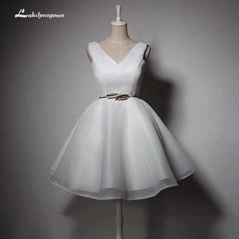 זול קצר חוף חתונת שמלות 2019 ללא משענת נשים פורמליות כלה שמלות מפלגת לבנה שמלה עם Sashes