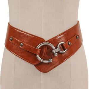 Image 2 - Retro Wide Metal Interlock Buckle Womens Elastic Waist Belt Cinch Elastic Genuine Leather Wide Women Dress Belts Cummerbunds