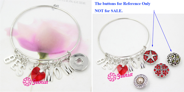 1PC DIY Interchangeable Jewelry Inspired Letter Initial BEST MOM Charms Wire Adjustable Snap Bracelet For Mother Day Gift