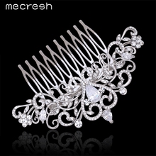 Mecresh Crystal Wedding Hair Accessories For Women Silver Color Heart Shape CZ Bridal Hair Comb Romantic Mariage Jewelry MFS123