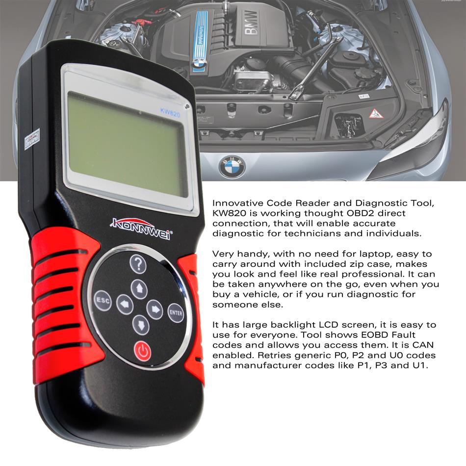 ФОТО KONNWEI KW820 OBD Car Scanner EOBD OBDII 2 Car/Vehicle Engine Diagnostic Scanner Code Reader & Scan Tools Tool
