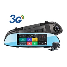 3G WCDMA Android 5.0 GPS Navi Del Coche de la Cámara DVR Grabador de Vídeo Bluetooth FM WIFI Videocámara Dash Cam Dvr de Doble Lente de Espejo Retrovisor