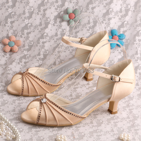 Individually Handmade Ivory Satin Wedding Shoes Low Heel Open Toes Hot Selling Summer Sandals Women In Womens Pumps From On Aliexpress