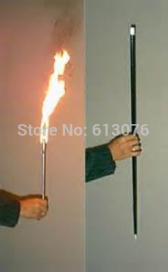 Flaming Torch To Cane Magic Tricks Silver Color Fire Magic Appearing Cane Stage Illusions Accessories Gimmick Magie Wand