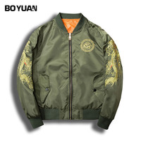 BOYUAN 2018 New Spring Autumn Sleeve With Dragon Embroidery Bomber Jacket Men Streetwear Brand Clothing Jacket