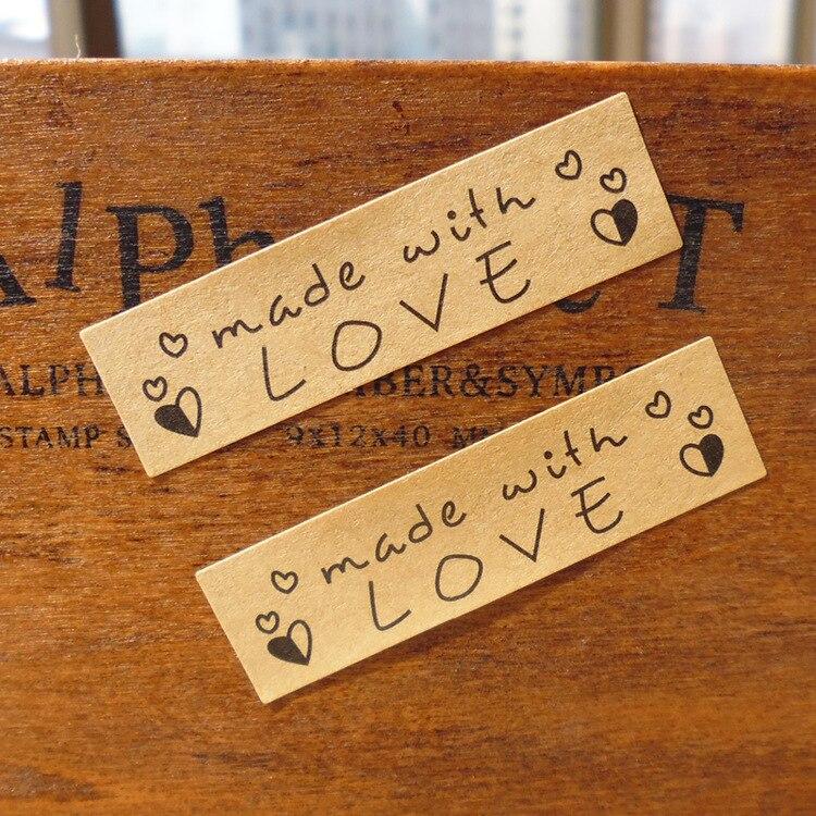 100Pcs Adhesive Made With Love Handmade Cake Packaging Sealing Label Kraft Sticker Baking DIY Gift Box Rectangle Stickers M1187