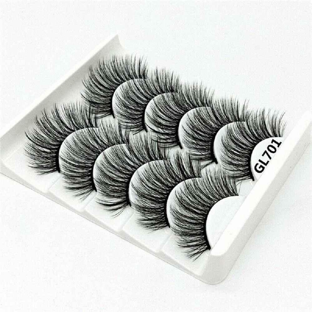 2019 חדש הגעה 5 זוגות 3D מינק שיער טבעי/עבה ארוכים ריסים דליל איפור יופי הארכת כלים