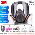 7/9 Em 1 3 3M 6800 Completa Peça Facial do Respirador Pintura de Pulverização Máscara de Gás Segurança Vapores Orgânicos Máscara de Solda de Proteção