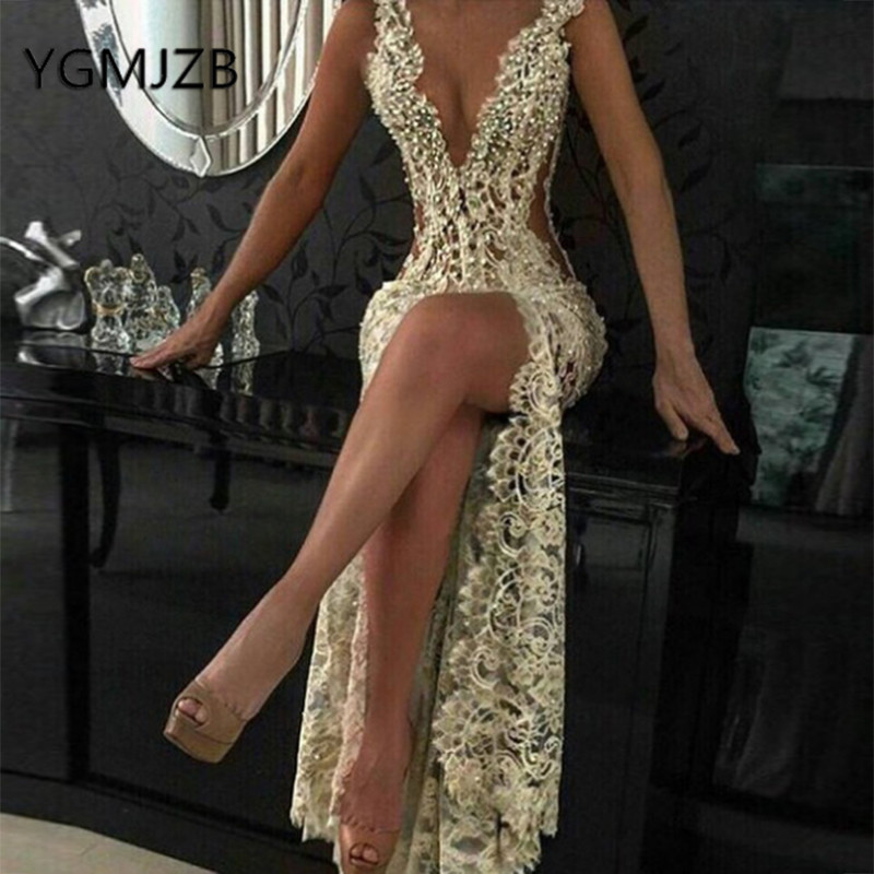 Sexy Backless Evening Dresses 2019 Mermaid Deep V-neck High Side Slit Pearls Lace African Women Formal Prom Party Dress