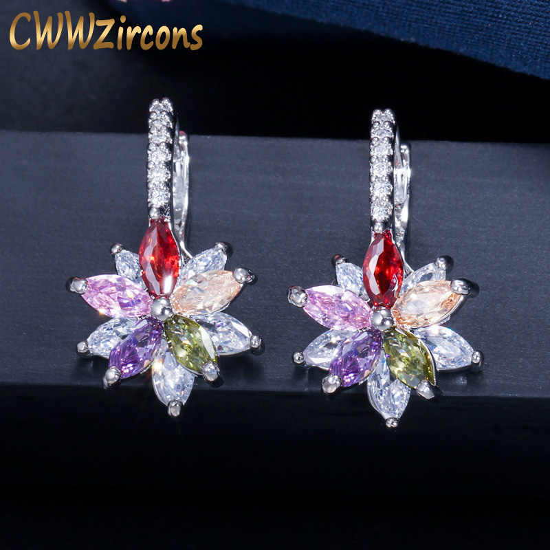 CWWZircons Easy Wear Lovely Geometric Flower Milticolor Cubic Zirconia Stud Earrings for Women Party Fashion Jewelry 2019 CZ451