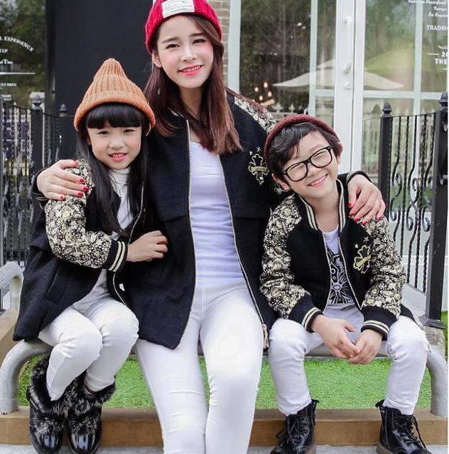 Шерсть и смеси активная семья пальто одежду для матери и дочери и сын дети верхняя одежда и пальто семья комплект DR02