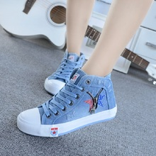 Free shipping autumn and winter high-top canvas shoes, jeans, flat casual shoes