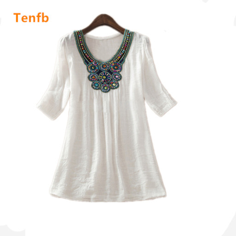 2018 new summer maternity Floral Embroidery Loose Blouse Shirts 7 Candy Colors Casual Shirt Tops clothes for pregnant women M277