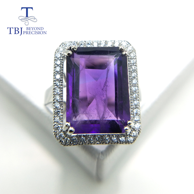 TBJ,Big size natural amethyst ring,oct10*14 8ct up amethyst gemstone ring in 925 sterling silver gemstone jewelry for women