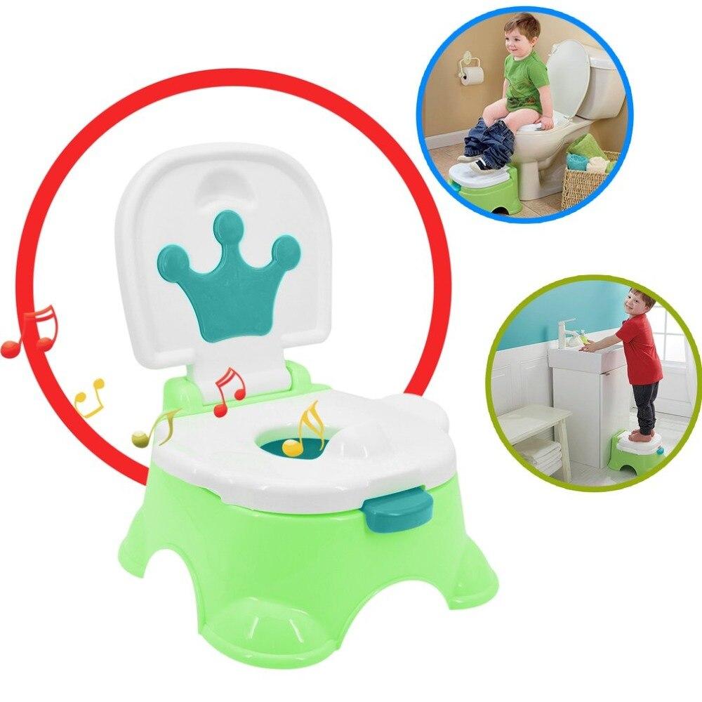 Портативный ребенок хорошо партнеров безопасности для мальчиков и девочек Stepstool горшок туалет обучения тренер музыка, удобное сиденье