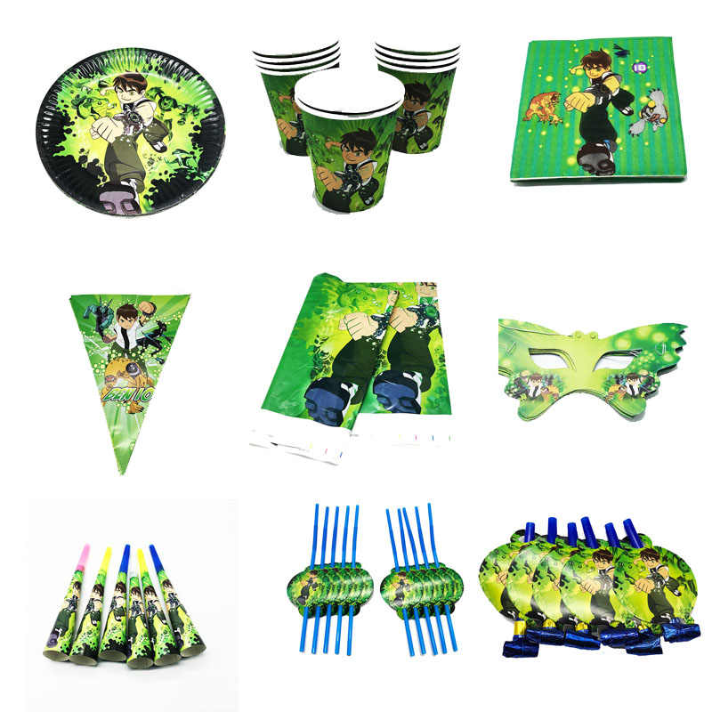 Ben 10 theme disposable party tableware set Ben 10 theme birthday party decorations Ben 10 theme disposable plates cups banners