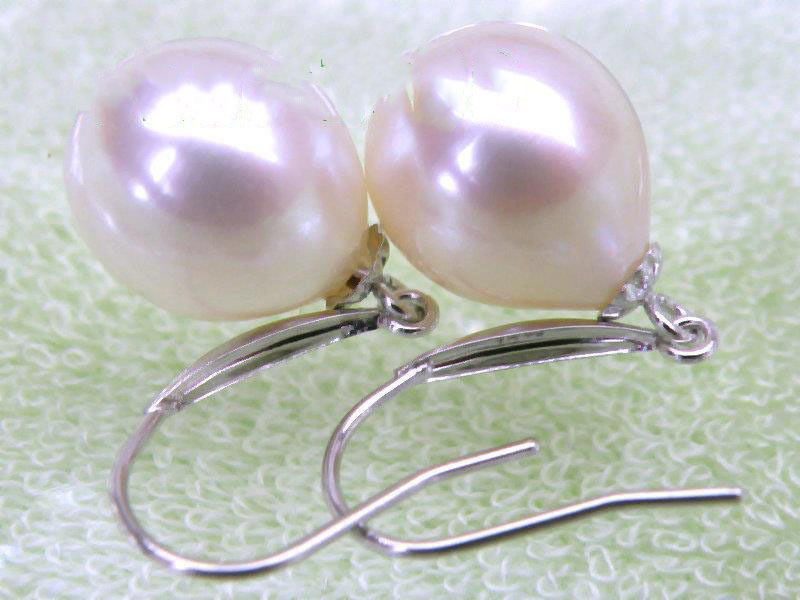 14K/20 White Solid Gold 10*11mm AAA+++ Drop White South Sea Pearls Dangle Earrings14K/20 White Solid Gold 10*11mm AAA+++ Drop White South Sea Pearls Dangle Earrings