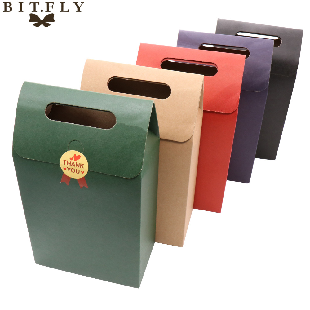 12Pcs Paper Candy Boxes With Handle Kraft Gift Bag For Snack Cookie Chocolates Package Wedding Birthday Party Christmas Favors