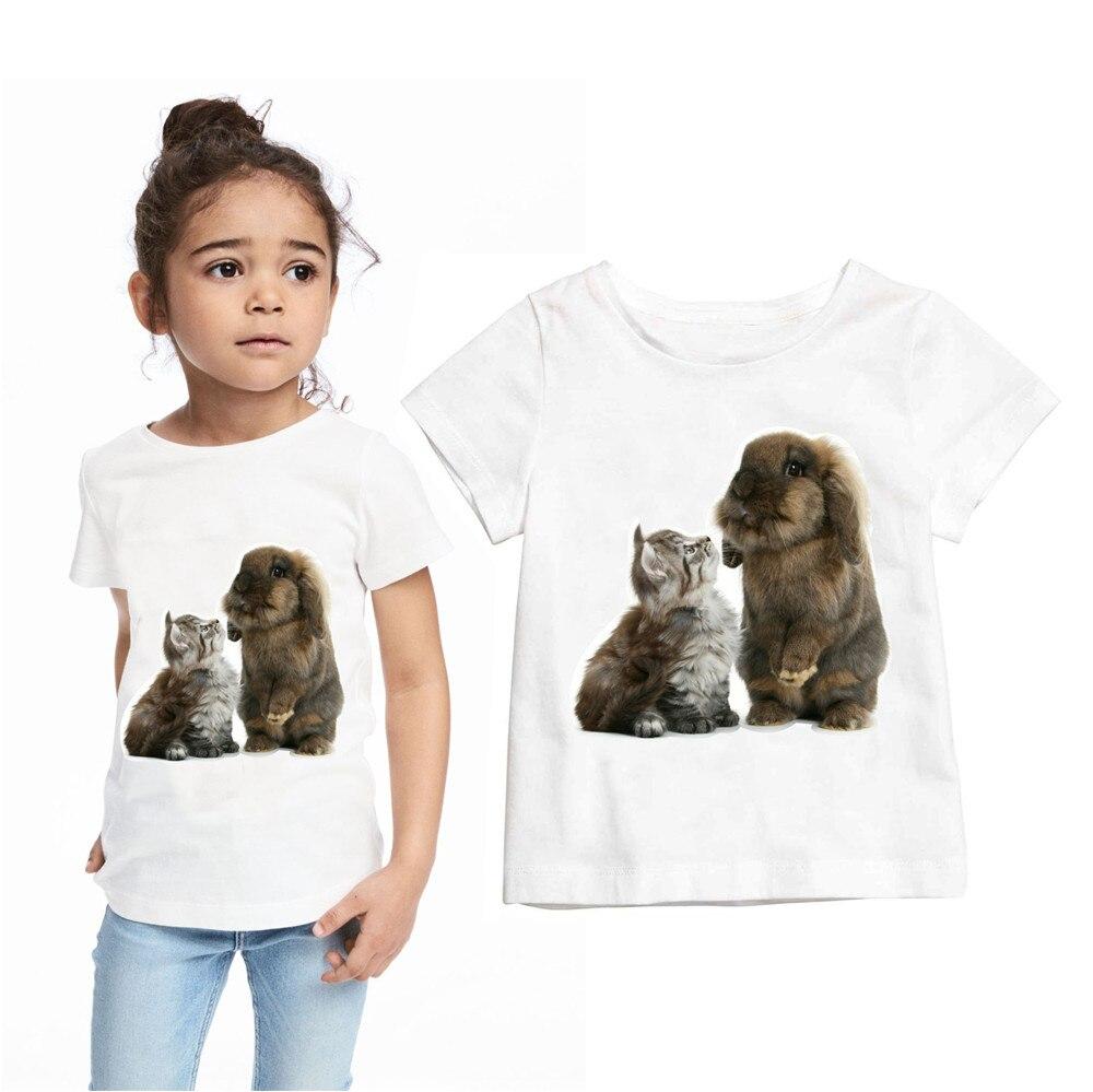 Gadis t shirt pakaian anak anak Musim Panas styleA kucing dan kelinci pencetakan remaja merek font remaja mode pakaian beli murah remaja mode pakaian lots from china,Baju Anak Anak Dan Remaja