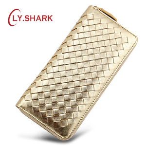 LY.SHARK Brand Luxury Genuine Leather Women Wallet Female Purse Weave Credit Card Holder Gold Clutch Phone Holder Money Bag 2019