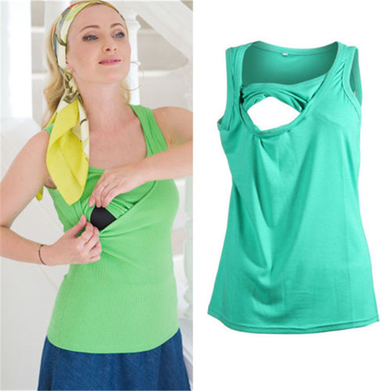 New2018 pregnant woman breast feeding nurse shirt pure color sleeveless round collar comfort waistcoat