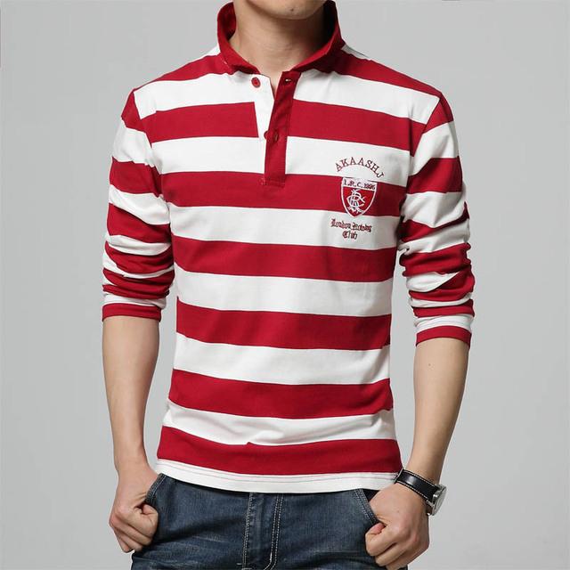 Camisa de Polo a rayas 2016 Rojo Azul Marino de Algodón de Polo de Los Hombres de Manga Larga Plus Tamaño 4XL 5XL Camisas Polo de Manga Larga Gira el Collar Abajo