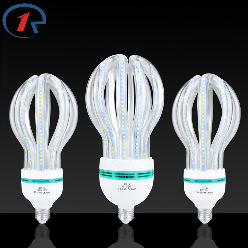 ZjRight E27 Lotus shaped glass tube LED Energy Saving lighting 24W 32W 40W 48W Lighting bulb Cafe school library factory Office