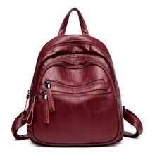 Mode Weichem Leder Frauen Rucksack Schwarz Rucksäcke Für Teenager Schultaschen Frauen Tasche Mochila Feminina Rucksack Reisetasche