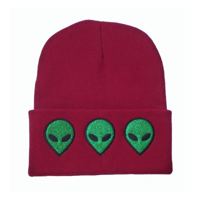Autumn Winter Knit Hats Women Men Alien Embroidery Wool Cap Solid Color Dome skullies beanies brand touca gorros de lana 2017 winter women beanie skullies men hiphop hats knitted hat baggy crochet cap bonnets femme en laine homme gorros de lana