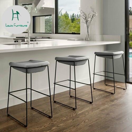 Louis Fashion European Iron Back Bar Chair High Cafe High Bench Designer's Dining