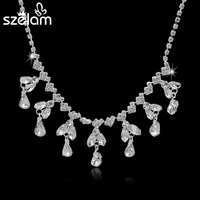 MELIHE Long Luxury Silver Crystal Statement Necklace Anniversary Flower Pendant Necklaces With Imitation Bijouterie Sne150851