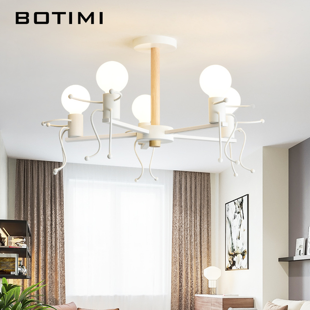BOTIMI Modern LED Chandelier For Living Room White Metal Chandeliers Wooden  Pendant Lustres Children Bedroom Lighting Fixtures