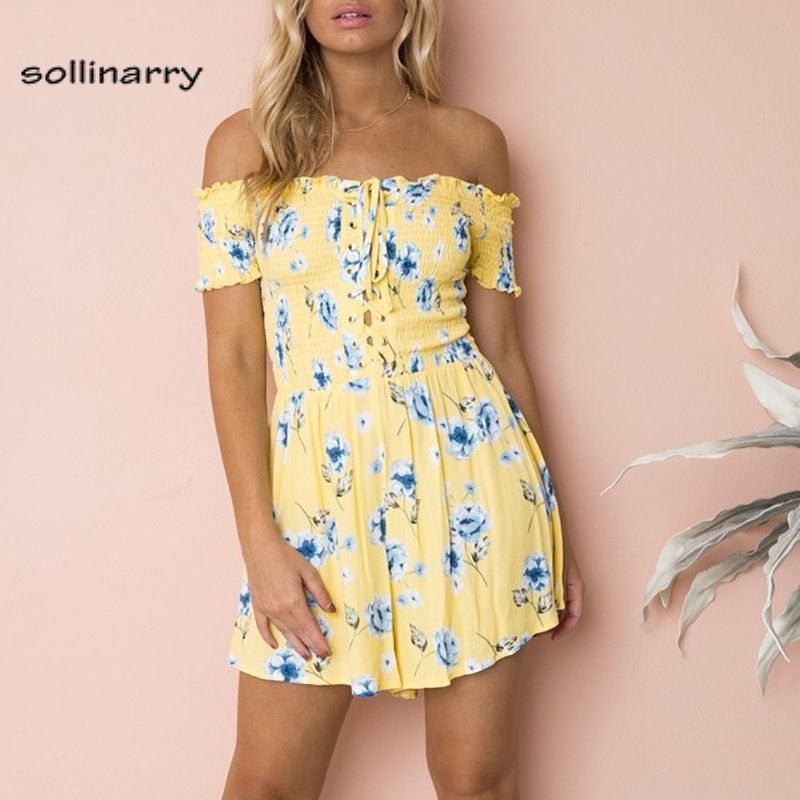 Sollinarry Yellow off shoudler lace up romper Floral print short jumpsuit romper women 2018 Summer beach boho women playsuits