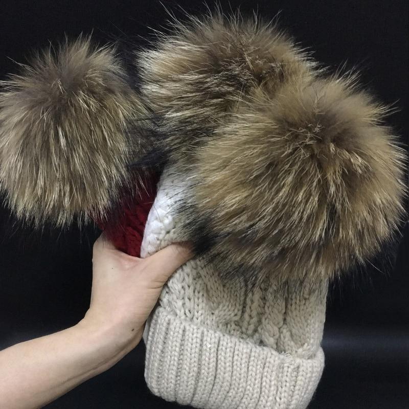 2019 Women's hats Add velvet Fleece Inside Beanies Winter Hats for women 100% Raccoon Fur Pompom Hat Female Twist pattern caps 3