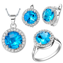 Plated NEW platinum suit set of sapphire 925 sets sterling silver round