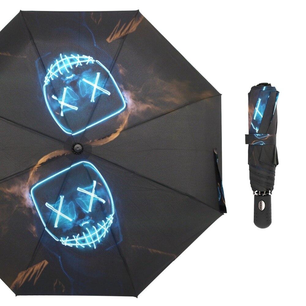 Susino bleu lumière masque voyage parapluies entièrement automatique ouvert métal pongé Compact Auto ouvrir fermer trois-pliage parapluie