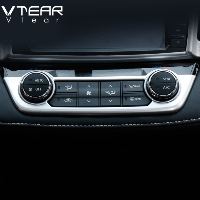 Vtear For Toyota RAV4 2016 air conditioning switch Cover decoration Central control Trim styling Interior Mouldings