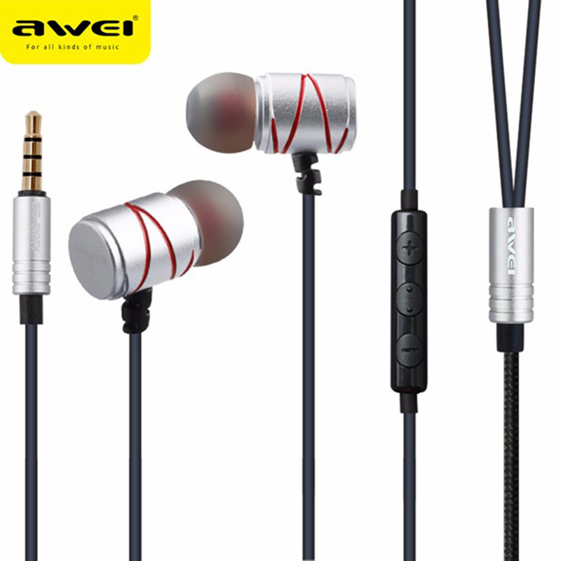Awei ES-910TY 3.5mm Metal Earphone In Ear Wired Control Earphones With Smart Buttons Microphone For iPhone For Andriod Phones ggmm alauda earphones with microphone in ear metal earphones music headets wired earphone hands free sports earphone for phone