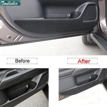 Tonlinker 4 Pcs DIY Car Styling polyester the Door anti-kick pad sticker Cover Case stickers for Mitsubishi Outlander 2013-16
